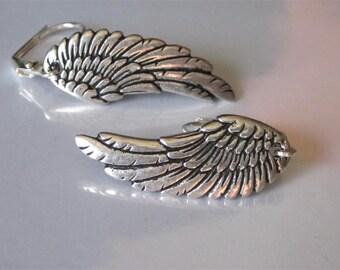 Silver Wing Earrings, Angel Wing Earrings, Fairy Wing, Dangle and Drop Earrings