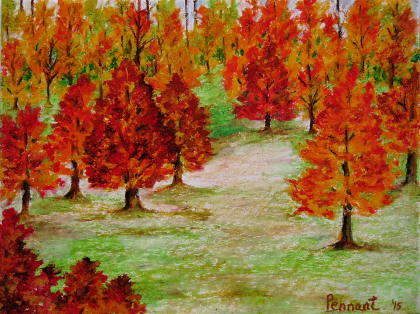 Autumn Landscape Small Drawing Original Oil Pastel Art Wall for Fall Tree Drawing  56bof