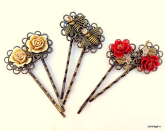 Red Rose, Golden Crystal Honey Bee, Ivory Rose, 6 Filigree Hair Pins, Sexy Hair Jewelry, Brides Hair, Prom Accessories, Vintage Elegance