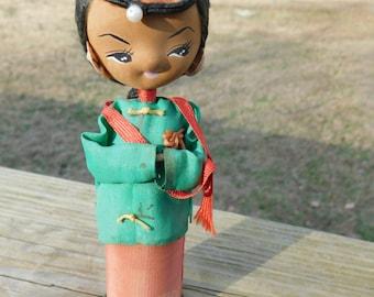 Vintage Japanese Wooden Kokeshi Geisha with Pony Tail Doll    Box D