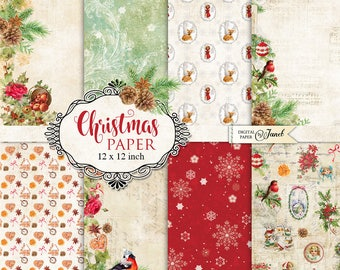 Christmas Paper - Scrapbooking Printable Paper - 12 x 12 inch - background - set of 8 - Printable Download