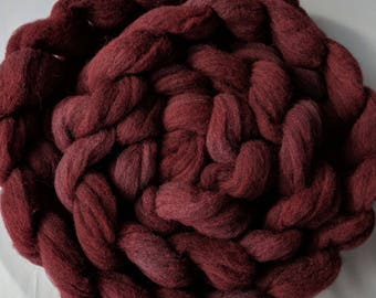 """Spinning Fiber Needle Felting 4 Ounce Braid Babydoll Southdown Wool & Alpaca  Combed Top Muted Dark Red  """" Wine  """" (2 avail)"""