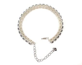 Handmade Swarovski Pearl and Crystal Sterling Silver Bracelet
