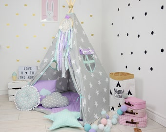 Childrens teepee, Grey Playtent, Star Teepee, tipi, Childrens Wigwam, Lavender Teepee, Mint Blue Teepee, Lavender Tent, Childrens Tipi