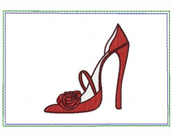 Red Stiletto Small Money Purse 05 - In The Hoop Machine Embroidery Design