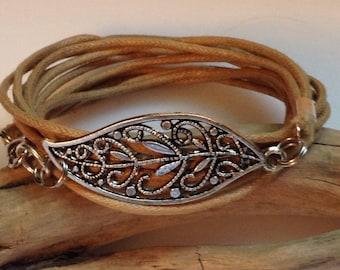 Cotton Cord Charm Wrap/Wax Cord Bracelet/ Boho Silver Leaf/ Tan/Wrap Bracelet