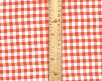 Orange Gingham Fabric, Orange cotton fabric, plaid sewing fabric,  quilting fabric