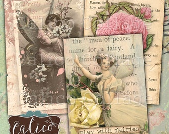 Printable, Journal Cards, Hang Tags, Fairy Garden, Journaling Tags, Journaling Spots, Fairy Ephemera, Vintage Fairies, Ephemera Pack