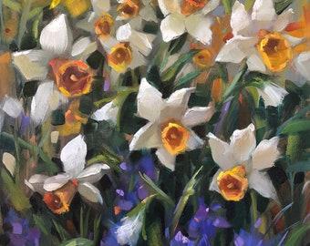 "Daffodils, 16""x20"",oil, original, Krista Eaton, art, pansies, pansy, floral, still life"