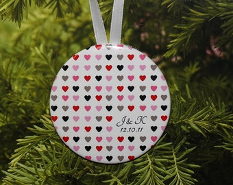 Wedding Christmas Ornament - Hearts and Initials - customized with your initials and date - C017