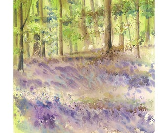 Watercolour Landscape Print- Limited edition, Giclee print, Bluebell wood, Loose Watercolor, Spring Landscape, Purple landscape