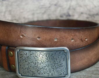 Brown Leather Belt, With Silver Plated Buckle