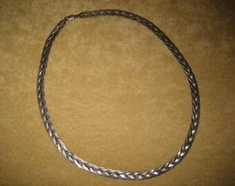 Sterling Silver Braided Herringbone Necklace Vintage
