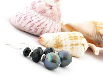 Earrings with Black Pearls