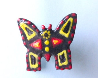 Mini pin or scarf holder. Bold color butterfly
