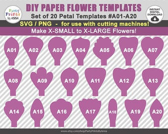 20 SVG Paper Flower Templates, Petal Templates A01-A20,diy Giant Large Paper Flower Templates, svg  png, vector,  molde de flores de papel