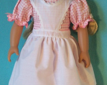 1854- 18 inch Doll Apron Dress &  Shoes