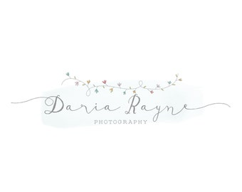 Photography Logo - premade logo  - hand drawn floral logo
