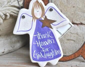 Goddaughter Baptism Gift Girl Baby Girl Gift God Daughter Gift Salt Dough Angel Ornament God Daughter Birthday Gift