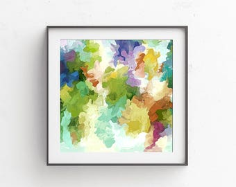 Abstract Watercolor, Abstract Art Print, Watercolor Painting, Pastel Wall Art, Watercolor Art Print, Abstract Wall Art, Green, Purple