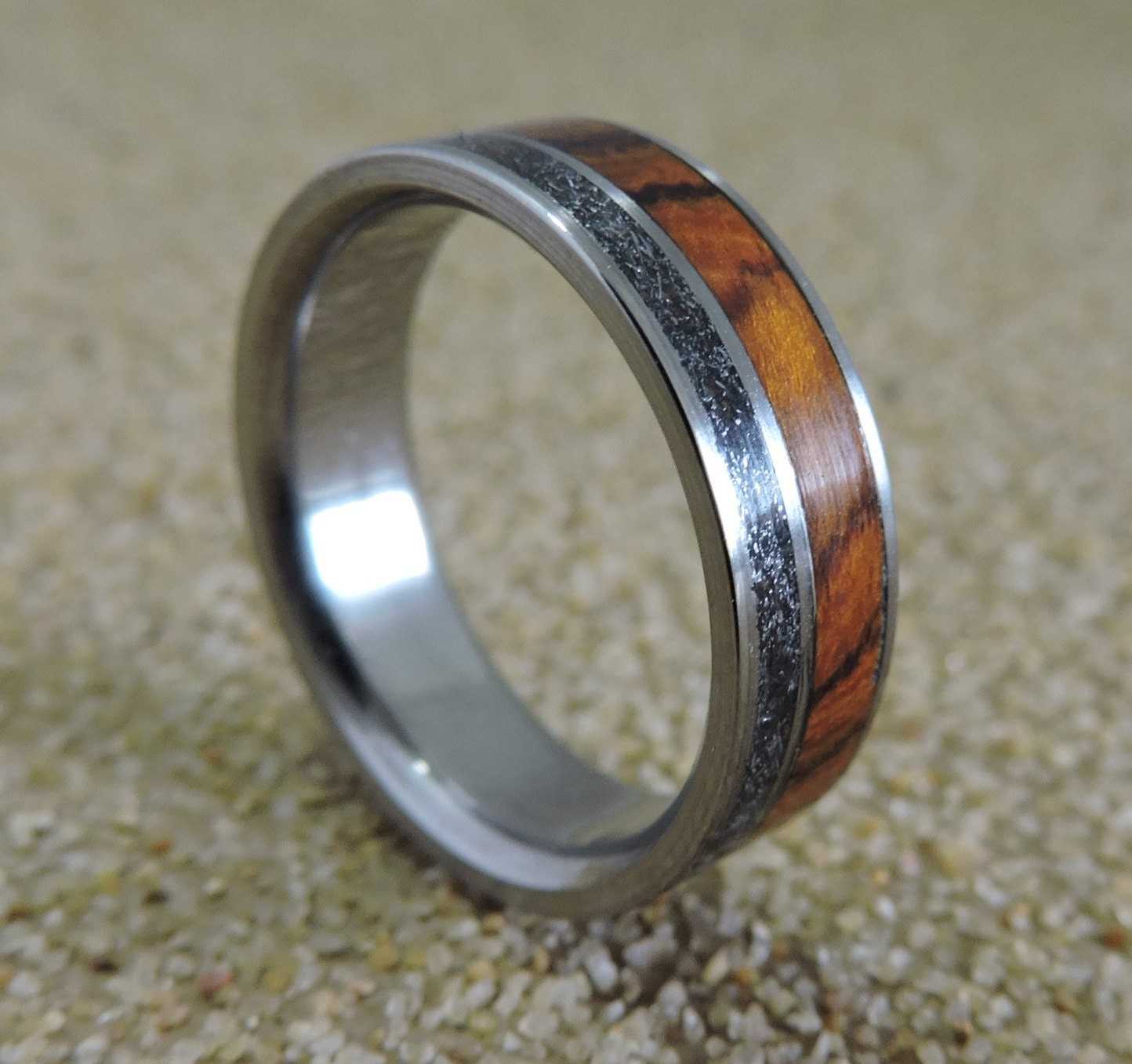 Mens Titanium Wedding Band Mens Meteorite Ring Desert