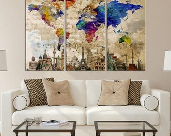World Map Canvas, World Map Wall Art, Wonder Of World Map Push Pin Canvas