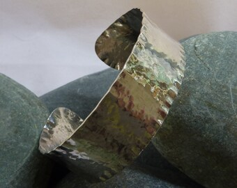 Cuff bangle: Handmade, hammered sterling silver