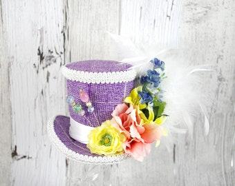 Purple and White Multicolor Flower Garden Floral Medium Mini Top Hat Fascinator, Alice in Wonderland, Mad Hatter Tea Party, Derby Hat
