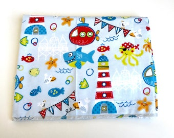 Nautical Receiving Blanket, Nautical 100% cotton flannel Swaddling blanket, New baby essentials, Nautical nursery baby gift.
