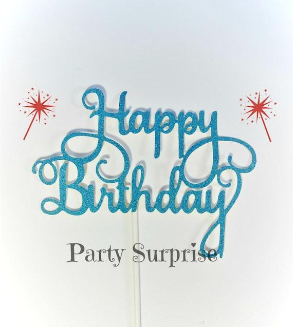 Blue Happy Birthday Cake Topper Men Boys Women Girls Blue Birthday