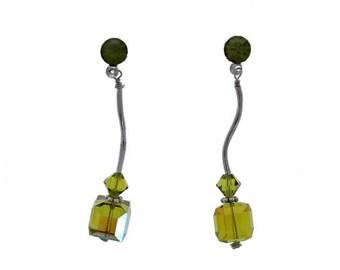 Swarovski Cube Earrings, 1pr, Bead, Earrings, 8mm, Olivine AB, Sterling Silver, Vintage Swarovski Cubes, Wholesale
