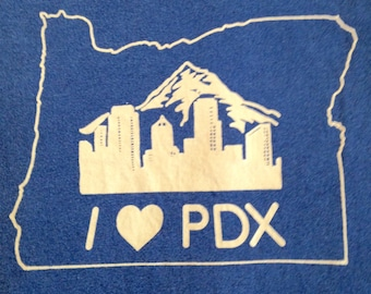 I love PDX, I love Portland, Oregon Screen printed shirt, soft style cotton,