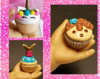 """Party Cupcakes  for  18"""" Dolls unicorn, mermaid, hedgehog (American Girl, Springfield, Our Generation...)"""