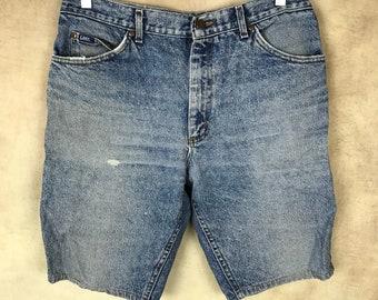Vintage Size 34 Lee Denim Shorts - Festival - Hipster - HIGH WAIST Shorts Cut Offs Long Shorts