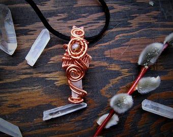 Quartz & Lepidolite Pendant // Wire Wrapped Pendant // Crystal Pendant // quartz point // Wild Moon Child // Copper Jewelry //