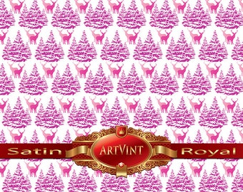 Christmas Trees and Deer in Pink  Wrapping Paper, Camo Pattern, Gift Wrap Great For Any Occasion. Made In USA