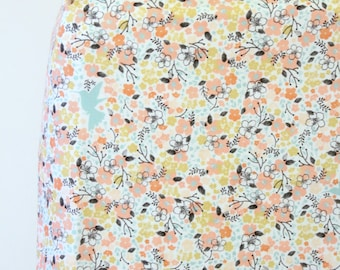Coral Aqua Floral Woodland Fitted Crib Sheet or Pad Cover Ready to Ship - Fawn Meadow in Tulip