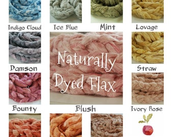 NATURALLY DYED FLAX fibre in many colours - available as is or carded batts - vegan needle felting, weaving, spinning and crafting alike.