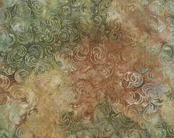 Sumatra Green Swirls Batik 6361-Earth from Blank Quilting by the yard