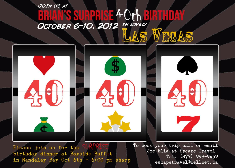 Casino Las Vegas Birthday Party Invitation 5x7 DIGITAL FILE