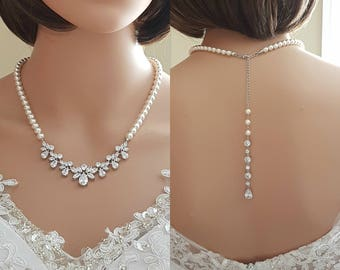 Bridal Necklace Back Bridal Necklace Crystal Pearl Wedding Necklace Wedding Back Drop Necklace for Bride Back Bridal Jewelry, Nicole