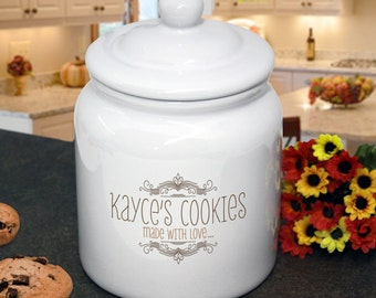 "Personalized Cookie Jar : Whimsical Design ""Made with Love"" for Housewarming, Birthday, or Shower Gift"