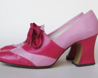 Vintage 60s Shoes Hot Pink Two Tone Spectator Lace Up High Heels size 6 1/2 M