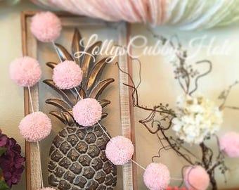 Soft Pink Pom Pom Yarn Garland - Birthday Pom Pom Garland - Baby Bridal Shower Garland - Birthday - Wedding -  Baby Girl Pink Pom Poms