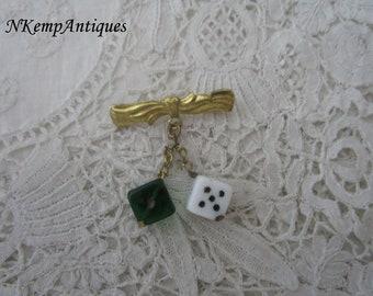 Vintage dice brooch 1930's