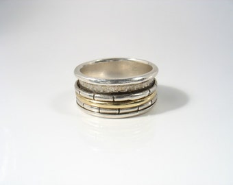 Escorting the Gold Ring - silver and gold spinners on silver band unisex ring