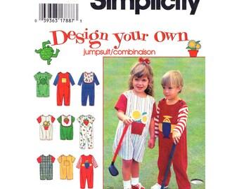 Toddler Jumpsuit Pattern Sunsuit Romper Simplicity 9525 Bib Applique Design Your Own Boy or Girl Toddler Sewing Pattern Size 1/2 1 2 UNCUT