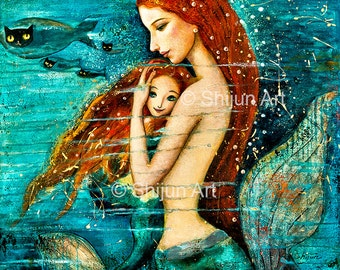 Mermaid Art, Red Haired Mermaid Mother & Child, Fairytale Fantasy Wall Art, Emerald Green Blue giclee print on canvas or paper by Shijun