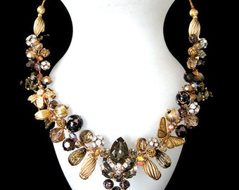 FREE SHIPPING to US. Ultra Elegance: Wearable Art. A totally Unique necklace designed from vintage and antique components