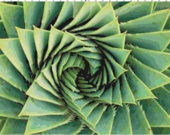 Green Cactus Close Up PDF Cross-Stitch Pattern